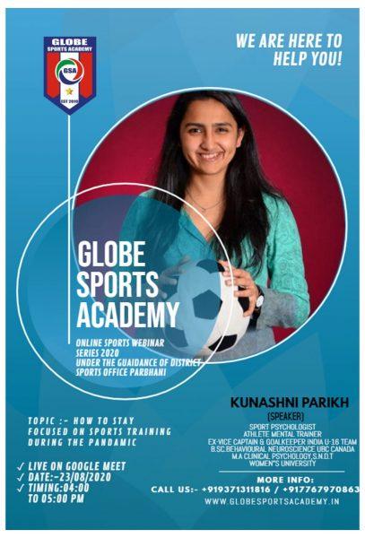 Globe Sports Academy - How to Focus on Sports Training during the Pandemic - Kunashni Parikh Sport Psychologist