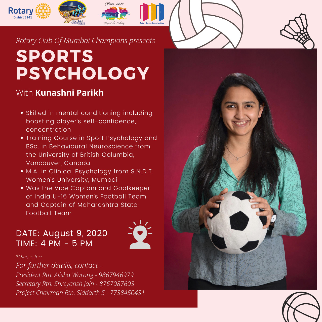 Rotary Club of Mumbai Champions - Sport Psychology Session with Kunashni - Poster