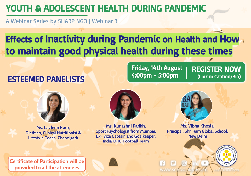 SHARP webinar poster - Inactivity during the Pandemic - Kunashni Parikh